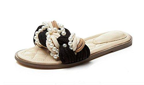 GLTER Sandalias para mujer Sandalias de playa Flip Flop de piscina con cuentas de hierba Cuerda de cáñamo Low Heel Drag Sandalias de perlas especiales Tamaño especial 33-43 Zapatillas apricot