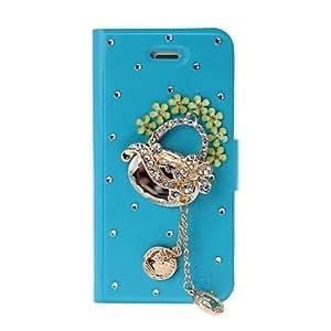DIY Diamante Bolsa con borlas y flores patr¨®n completo estuche de cuero de cuerpo con el soporte para iPhone 5/5S