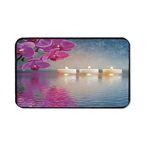 Zen Office Mouse Pad,Japanese Candle Relaxing Environment Cherry Blossoms Asian Inspirations Image Decorative for Office Computer Desk,15.75''Wx23.62''Lx0.12''H