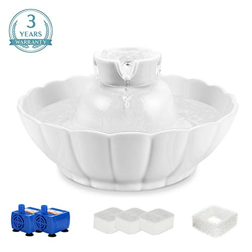 IPETTIE Tritone Ceramic Pet Drinking Fountain丨Ultra Quiet, Way Better Than Plastic丨Water Fountains for Cats and Dogs 2.1 Liters Pet Water Dispenser with Replacement Filters and Foam, White