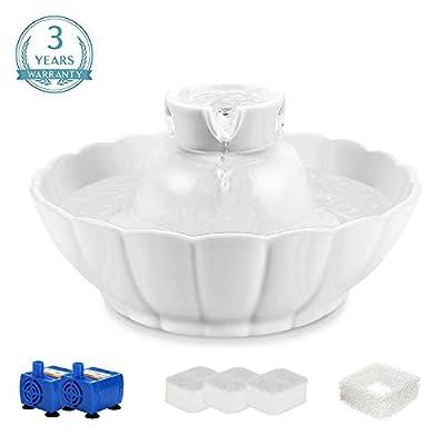 Cat Water Fountain iPettie Tritone Ceramic Pet Drinking Fountain丨Ultra Quiet,... [tag]