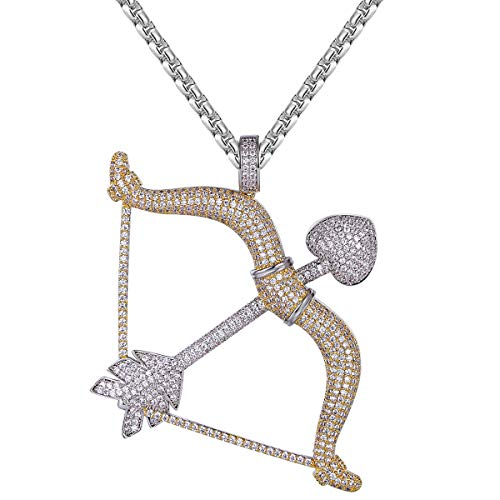 Master Of Bling Iced Out Cupid Love Bow & Arrow Heart Two Tone Gold Finish Designer Pendant Free Steel Chain ()