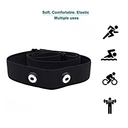 Heart-Rate-Monitor Chest-Strap Beat 20 Rechargeable Fitness Tracker with Vibration Alert, Bluetooth & ANT+ Activity Tracker, IP68 30m Waterproof, 100 Sessions Memory