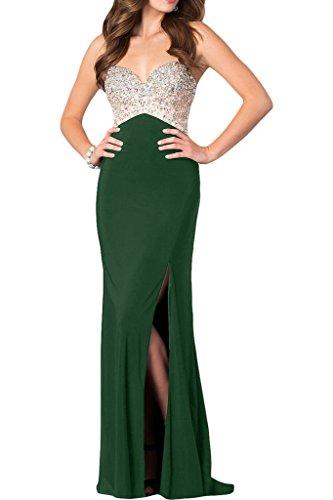 Dunkelgruen Promkleid Ivydressing Spaghetti Abendkleid Hochwertig Strasssteine Damen Schlitz Partykleid wRfX8