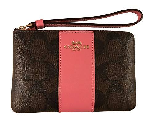 - Coach Signature PVC Leather Corner Zip Wristlet (Brown/Pink)