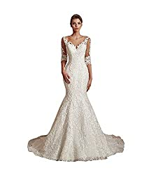 Women's Applique Lace Pearl Mermaid Bridal Gown