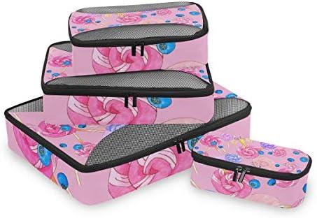 ピンクシュガーキャンディーユニコーン荷物パッキングキューブオーガナイザートイレタリーランドリーストレージバッグポーチパックキューブ4さまざまなサイズセットトラベルキッズレディース