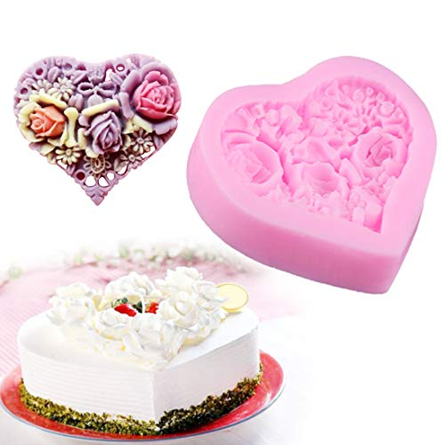 Cake Molds - Pastry 1pc Rose Flower Heart Shape Silicone Cake Mold Bread Chocolate Soap Stencil Baking Pan - Kids Shaped Animal Healthy Alphabet Cake Unicorn Rectangle Pans Baby Letters Molds