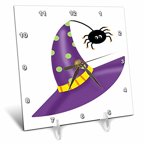 Anne Marie Baugh - Halloween - Cute Purple Halloween Dotted Witches Hat With Spider - 6x6 Desk Clock (Cute Halloween Pic)