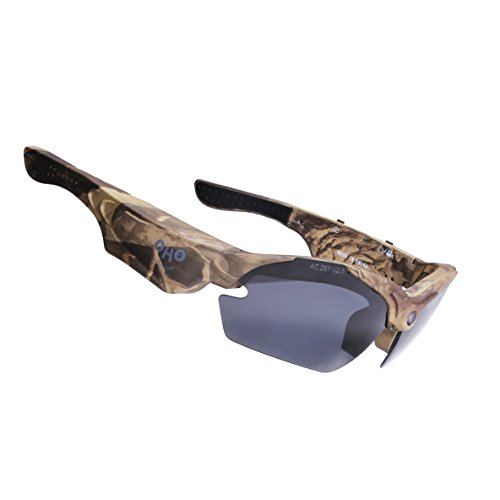 OHO 16GB Ultra 1080P HD Hunting Camera Sunglasses Video Recording Sport Sunglasses DVR Eyewear Sports Action Camera with UV Impact Resistant - Hunting Glasses