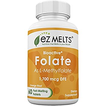 EZ Melts Folate as Methylfolate, 1,700 mcg DFE, Dissolvable Vitamins, Vegan, Zero Sugar, Natural Orange Flavor, 60 Fast Melting Tablets, Bioactive Form of Folic Acid Supplement