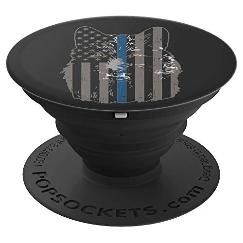 Thin Blue Line Flag Wolf Police Officer Law Enforcement Gift - PopSockets Grip and Stand for Phones and Tablets