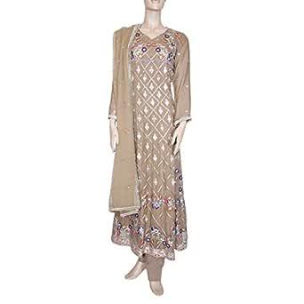 Shabnam Brown Casual Kameez & Salwar Set For Women