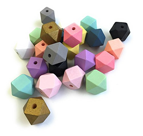 24pc pastel faceted geometric hexagon wooden beads 20mm with 4mm hole Painted for DIY crafting and jewelry making