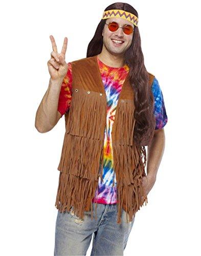 60s Costume Men (Costume Culture Men's Hippie Fringed Vest, Brown,)