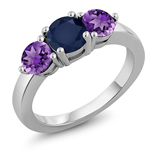 1.90 Ct Round Blue Sapphire Purple Amethyst 925 Sterling Silver Ring (Women For Sapphire Purple Ring)