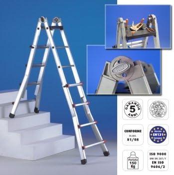 escalera de Aluminio 10 peldaños + 10 peldaños Telescópica: Amazon.es: Bricolaje y herramientas