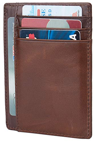 LinsCraft Leather RFID Blocking Minimalist Credit Card Holder Slim Pocket Wallets for Men Women, A Oil Wax Leather Deep Brown, Small