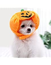 Delifur Cat Halloween Pumpkin Hat Pet Pumpkin Costume Adjustable Hat for Party Decoration Kitty Small Dogs Puppy Cap