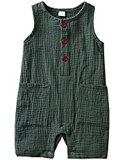 الصيف طفل الفتيان الفتيات رومبير طفل الاطفال playsuit حللا القطن الكتان الشاش الرضع رومبير أكمام طفل الملابس (Color : Green, Kid Size : 6M)