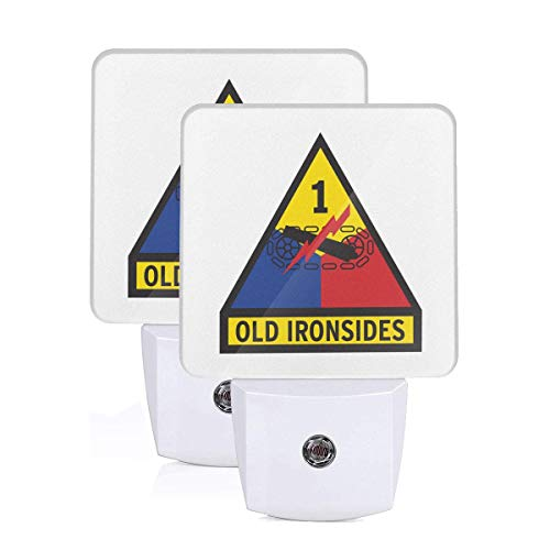 1st Armored Division Old Ironsides LED Night Light Lamp Bed Lamp Set of 2 with Dusk to Dawn Sensor