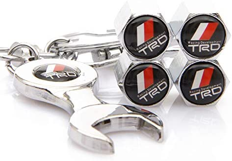 Kaolele 5 Pcs Metal Car Wheel Tire Valve Stem Caps for Toyota with Key Chain Styling Decoration Accessories