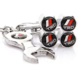 yunming 4X Car Tyre Stems Air Cover Valve Caps + Wrench Keychain Key Ring for TRD