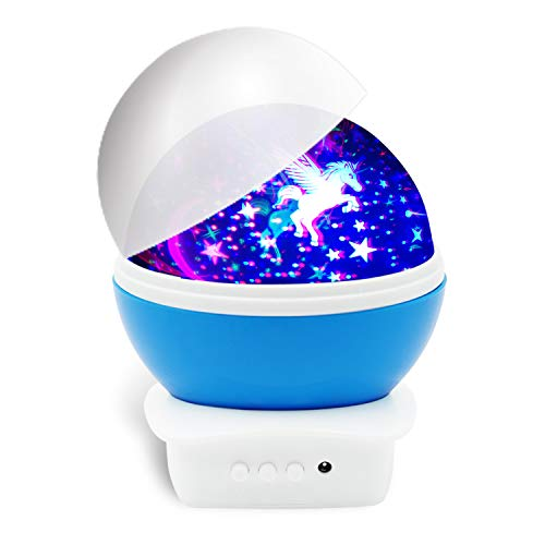 (Mictchz Unicorn Night Light Projector, Kids Moon Starry Sea Ocean Night Lamp, 360 Degree Rotating Color Changing Romantic Lantern for Nursery, Bedroom, Gift for Birthday, Christmas Baby, Adult (Blue))
