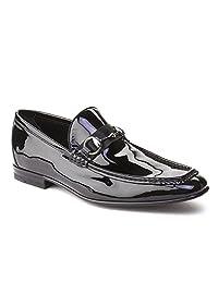 Gucci Men's Patent Leather Horsebit Loafer Shoes Black