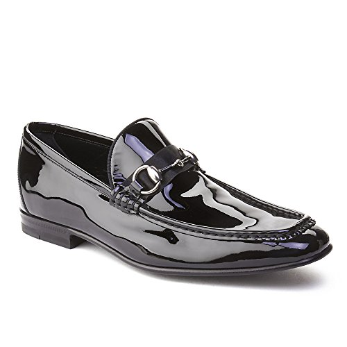 Gucci Men's Patent Leather Horsebit Loafer Shoes Black (Leather Shoes Gucci Mens)
