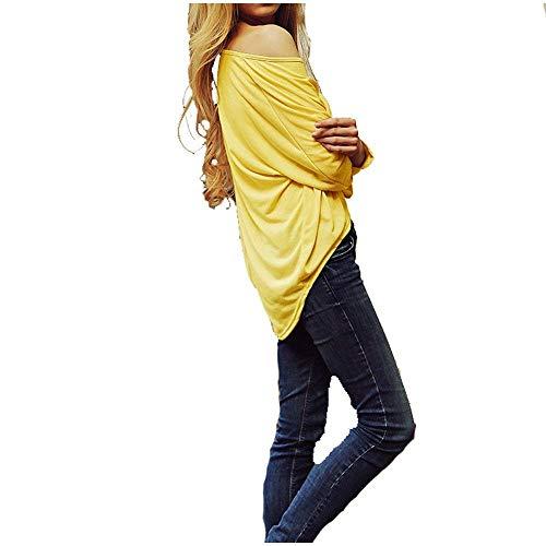 Blusa Camicetta Fashion A Irregolare Autunno Lunga Mode Casuale Vintage Gelb Marca Manica Rotondo Monocromo Primaverile Maniche Lunghe Bolawoo Prodotto Plus Di Tops Camicia Donna Elegante Collo qwEAfSg