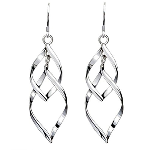 Sterling Silver Double Wave (Challyhope Elegant Chic Sterling Silver Plated Double Twist Wave Long Eardrop Dangle Drop Earrings For Womens (Silver, Alloy))