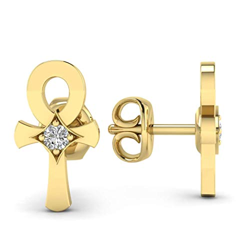 - Anch Cross Earrings - Christian, Religious, Crucifix Diamond Earring Studs in Solid 14K Yellow Gold, Real Diamonds, Butterfly Push Back Fastenings