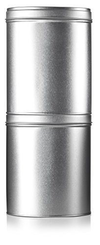 Oval Stackable Tea Tin Canister Containers 5.4'' (2 PACK) and Stainless Steel Metal Scoop Spoon + Labels, For Loose Leaf Tea, Coffee, Sugar Storage, Dried Herbs, Spices by JUVITUS (Image #2)