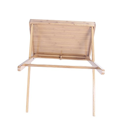 Azadx Bamboo Folding Table, Free Standing Snack Tea Portable Dinning Table Wood Color by Azadx (Image #3)