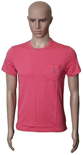 Ralph Lauren Men's Pony Logo T-Shirt with Pocket Custom Fit (WinsRed L) (Polo Lauren Ralph Pocket)