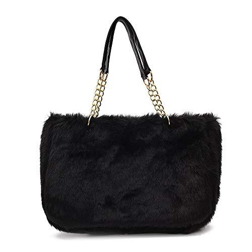 - Yu He Womens' Faux fur Messenger Crossbody Shoulder Bag Satchel Tote Handbag Black