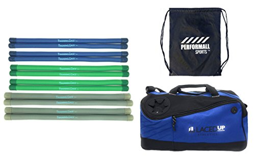 Training Lace Lacrosse Team Pack Combo: 4 of 5oz, 8oz and 12oz plus 1 Duffle Bag Lacedup Athletics TrainingLace bundled with 1 Performall Sport Bag by Performall Sports Lacrosse Training Tools (Image #1)