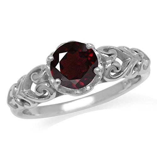 1.39ct. Natural Garnet 925 Sterling Silver Victorian Style Solitaire Ring Size 10 Victorian Garnet Ring