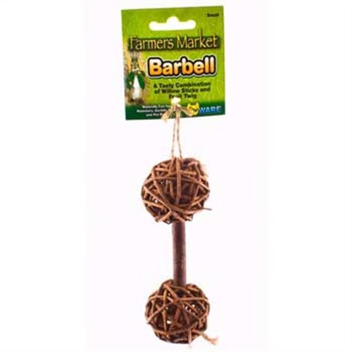 Barbell Chew - Ware Manufacturing Natural Woven Willow Small Pet Barbell Chew Toy, Small