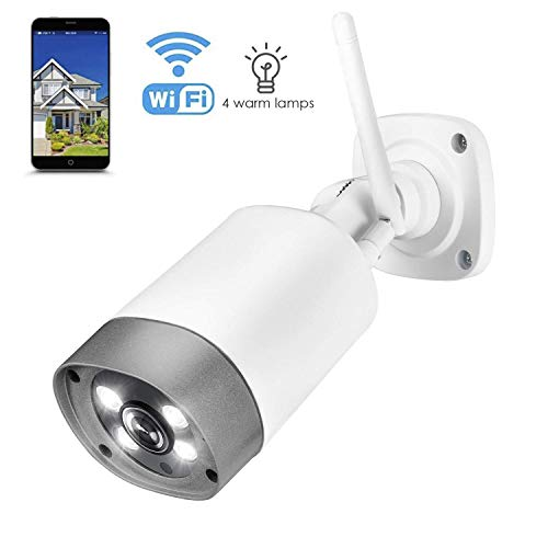 Outdoor Security Camera, Wireless IP66 Waterproof 1080p IP Cam 2.4G Night Vision Surveillance System with 4 Lamps, Two-Way Audio, Motion Detection, Activity Alert, Deterrent Alarm - iOS, Android App