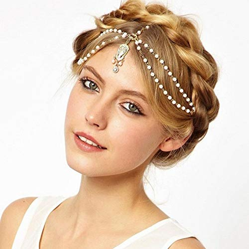 New Beach Alloy Plated Head Chain Hair Jewelry Tassel Pearl Leaves Bindi hair accesories Indian Boho -