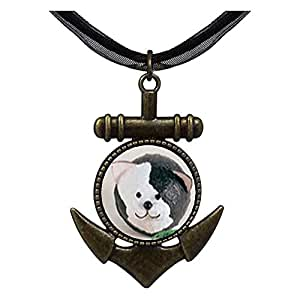 Chicforest Bronze Retro Style Puffball Black White Cat Anchor Pendant