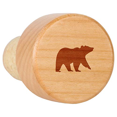 Grizzly Bear Maple Wood Wine Bottle Stopper With Cork - Laser Engraved Decorative Wine Bottle Stopper - Reusable Cork Stopper Gift