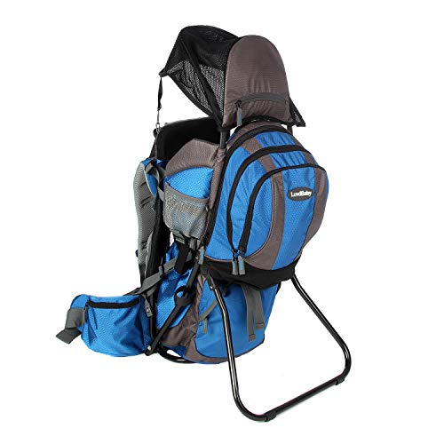 Premium Baby Backpack Carrier with Removable Backpack - 2 in 1 for Hiking with Kids - Carry Your Child Ergonomically (Blue/Grey) ()