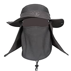 General Fishing Hat for Men, Military Boonie Hat with Removable Neck Flap,Sun Hat Wide Brim,Men Sun Hats with UV Protection for Outdoor Sports & Travel Dark Gray