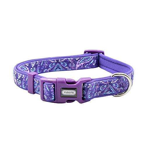 (YUDOTE Durable Dog Collar with Maple Leaves Pattern, Neoprene Padded Soft and Comfortable, Adjustable Collars for Large Dogs & Puppies)