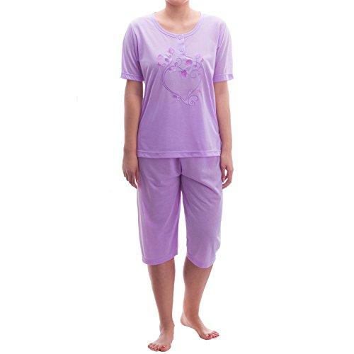 Lucky - Pijama - Básico - Manga corta - para mujer Flieder
