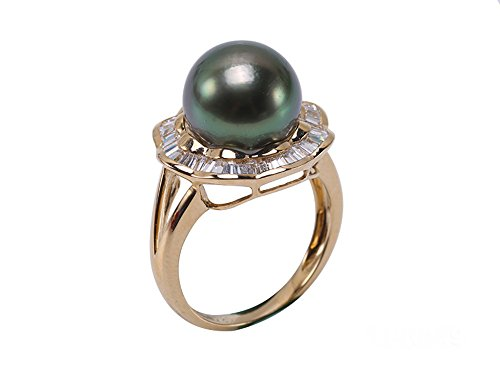 JYX 14K Gold 11mm Peacock Green Round South Sea Tahitian Cultured Pearl Ring