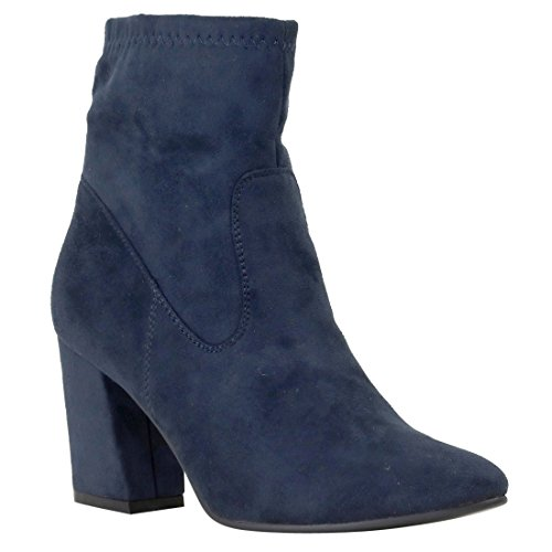 Heel Reneeze Wrapped Women's High Navy Booties FL98 Ankle Chunky wgXgpzq